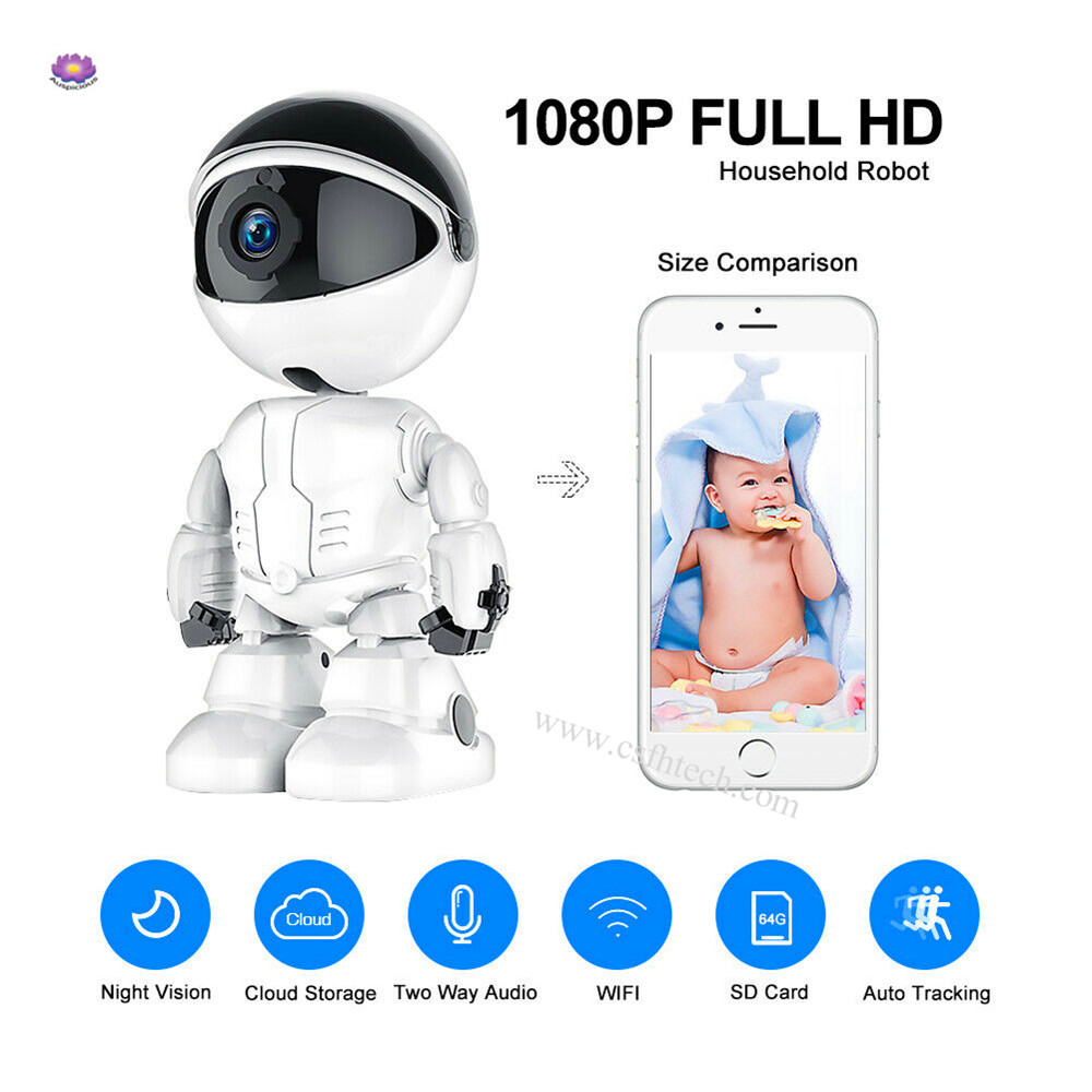 2021 NEW HD1080P Wireless WIFI Smart Home Camera CCTV IR Night Video Baby Pet Monitor Robot IP Camera  Made In China Factory