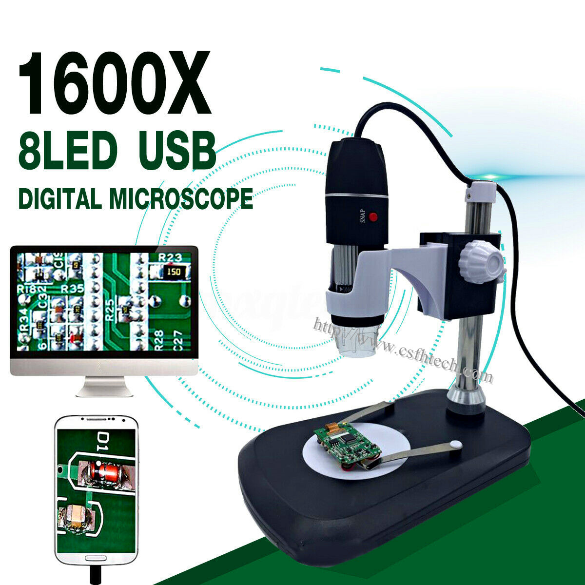 2020 The Best Quality1600X 8 LED Zoom USB Digital Microscope Magnifier Endoscope Camera +Video Made In China Factory