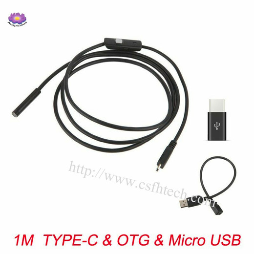 2019 The Best Quality5.50mm,7.00mm,8.00mm 1~10m Wire Endoscope Camera Flexible IP67 Waterproof Inspection Borescope Camera for Android PC Notebook 6LEDs Adjustable Made In China Factory