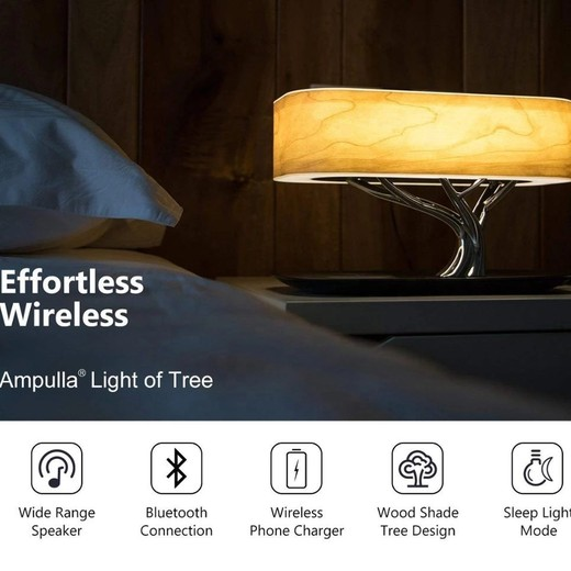 2020 Wholesale The Desktop Lamp Wireless Charging Smart Music Wooden Tree Shape Bedside Lamp Mobile Phone  Wireless Charging With Night Light Made In China Factory