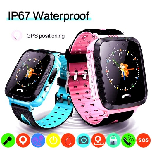 GPS kids Smart Watch Phone Position Children Watch 1.22 inch Color Touch Screen WIFI SOS Tracker Smart Baby Watch IOS & Android