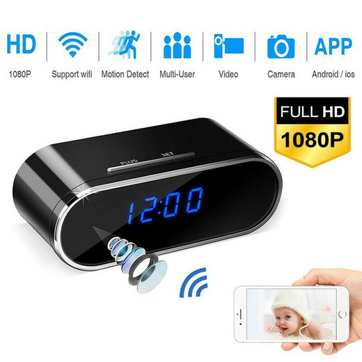 The Best Quality WirelessWIFI Camera Clock 1080P Z10 Mini Camera Time Alarm Watch P2P IP/AP Made In China