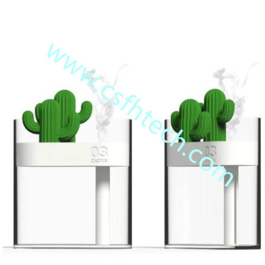 Csfhtech Clear Cactus Ultrasonic Air Humidifier 160ML Color Light USB Air Purifier Anion Mist Maker Water Atomizer