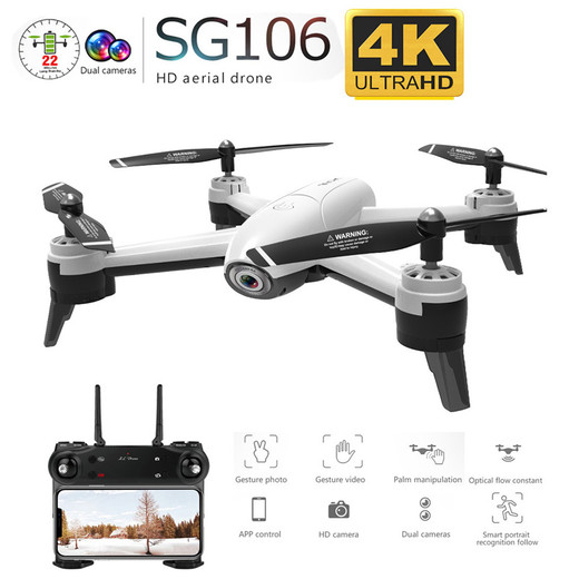 Csftech SG106 WiFi FPV RC Drone 4K Camera Optical Flow 1080P HD Dual Camera Aerial Video RC Quadcopter Aircraft Quadrocopter Toys Kid