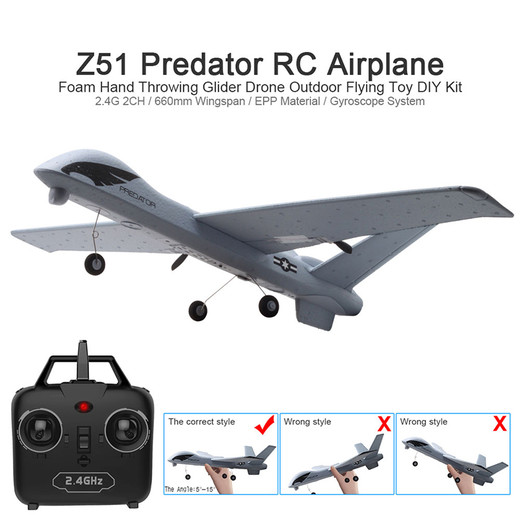 Csfhtech  RC Airplane Plane Z51 with 2MP HD Camera or No Camera 20 Minutes Fligt Time Gliders With LED Hand Throwing Wingspan Foam Plane